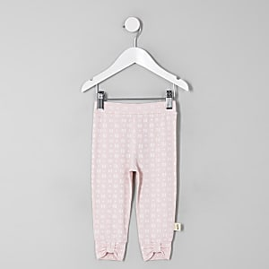 Mini girls pink RI print bow hem leggings