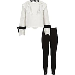 Set met witte top met kant en ruches en legging voor meisjes