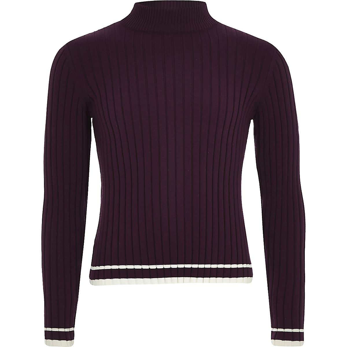 Girls purple knit ribbed tipped high neck top