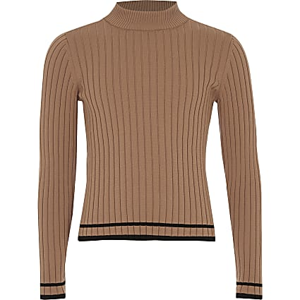 Girls beige ribbed tipped turtle neck jumper