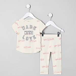 Ensemble « Made with love » crème pour mini fille