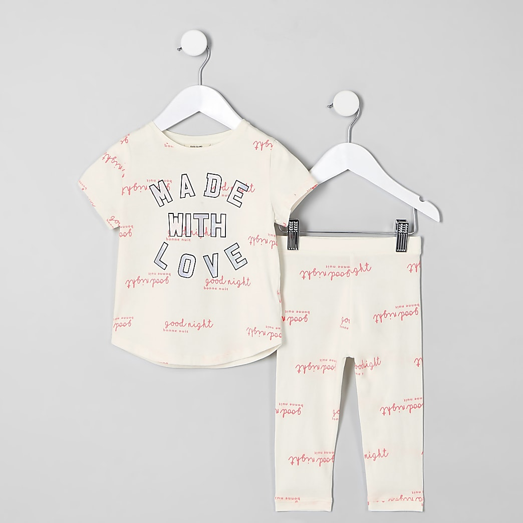 Mini girls cream 'Made with love' pyjamas