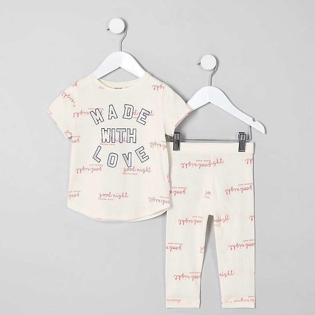 Mini - Crèmekleurige pyjama met 'Made with love'-tekst voor meisjes