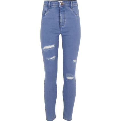 Girls blue Molly  ripped detail jeggings