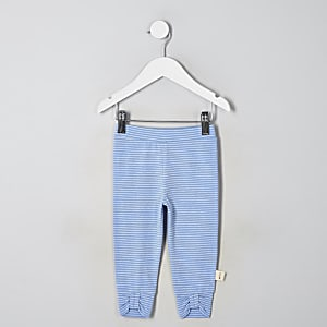 Blaue, gestreifte Leggings