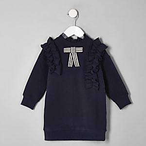 Mini girls navy bow ruffle jumper dress