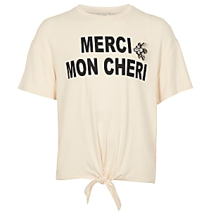 Girls cream 'Merci' print tie front T-shirt