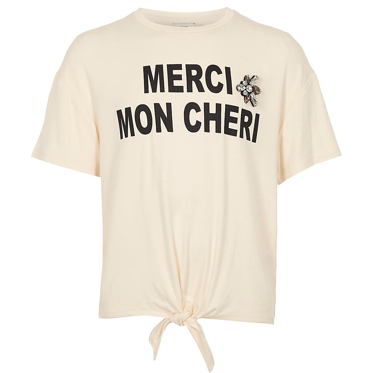 Girls cream 'Merci' print tie front T-shirt