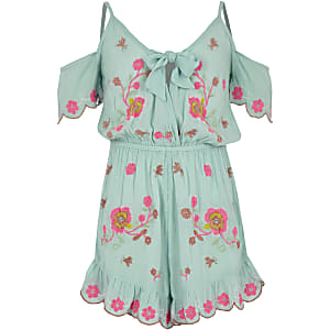 Girls blue floral embroidered beach playsuit