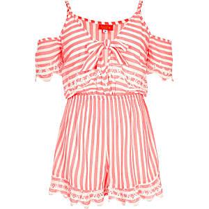 Girls pink stripe tie front romper
