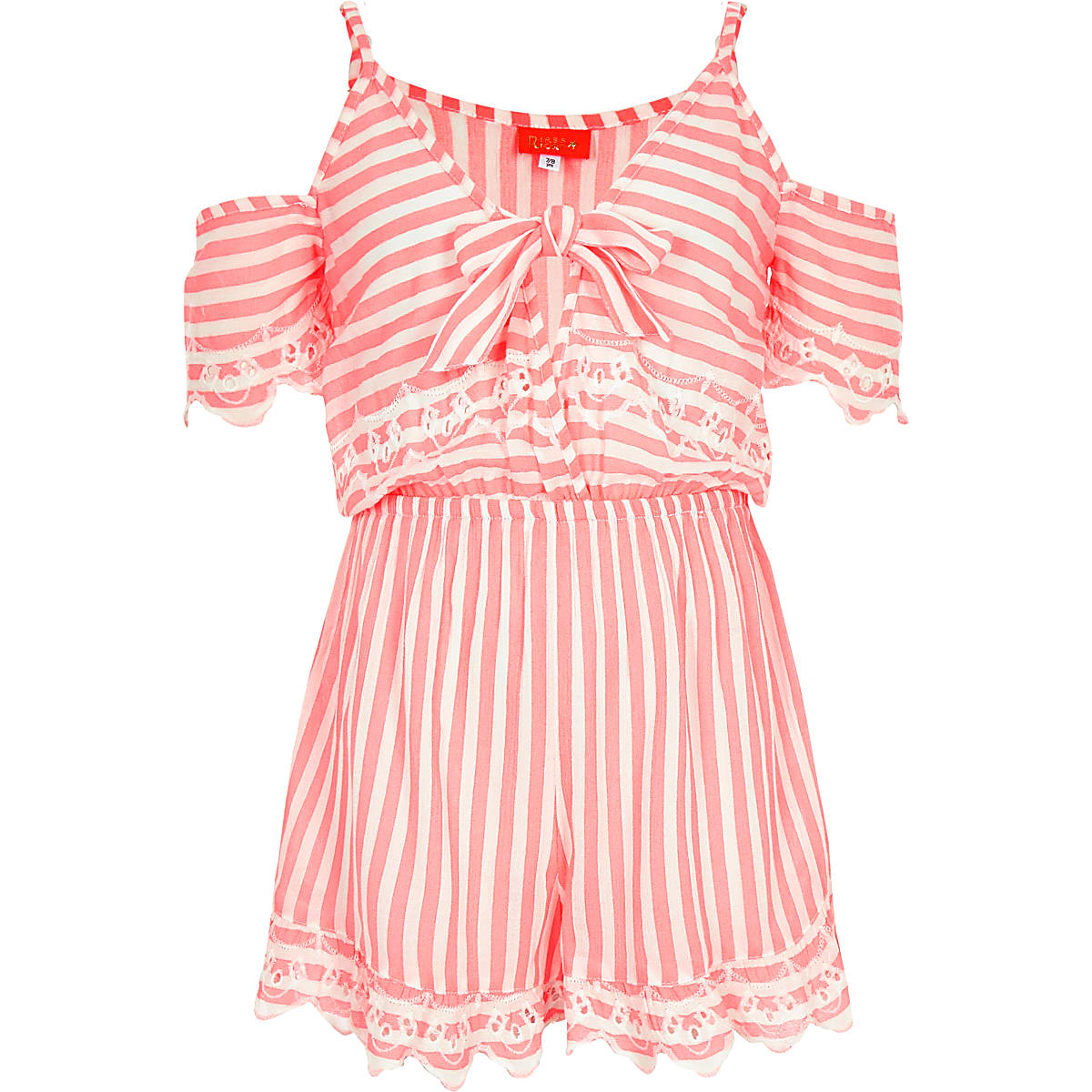 Girls pink stripe tie front playsuit