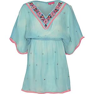 Kimono bleu clair orné pour fille