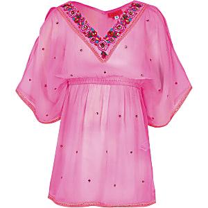 Roze verfraaide kimono voor meisjes