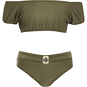 Girls khaki puff sleeve bardot bikini set