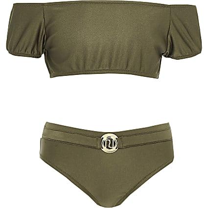 Girls khaki puff sleeve bardot bikini set