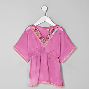 Kimono rose orné mini fille
