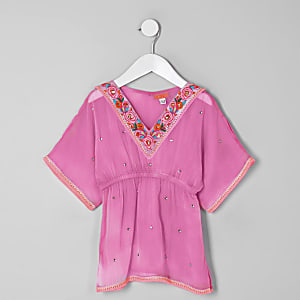 Mini - Roze verfraaide kimono