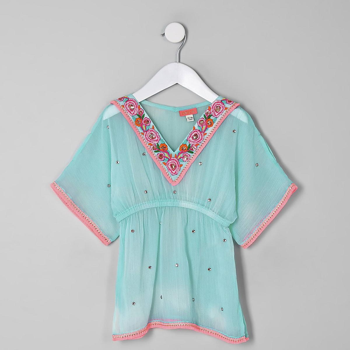 Mini girls light blue embellished kimono