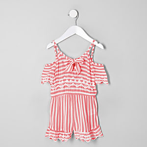 Combi-short rayé rose mini fille
