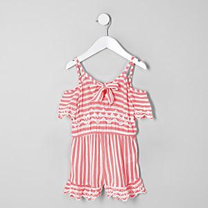 Mini - Roze gestreepte playsuit voor meisjes