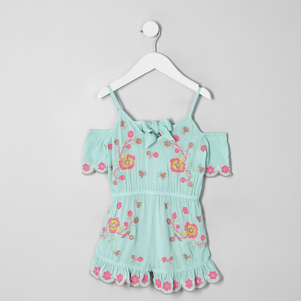 Mini girls blue floral embroidered romper