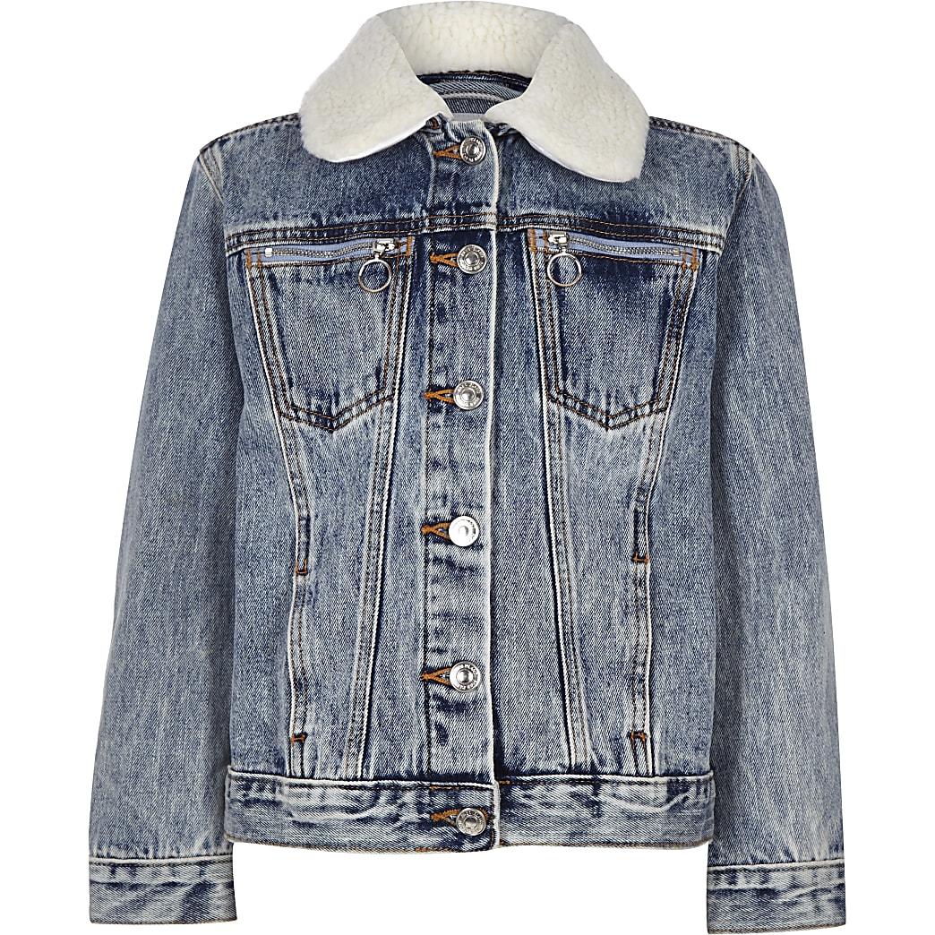 Veste en jean bleue à col imitation mouton pour enfant
