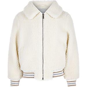 Girls cream borg bomber jacket