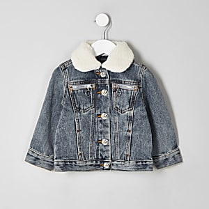 Veste en jean à col imitation mouton mini enfant