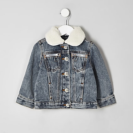 Mini kids denim borg collar jacket