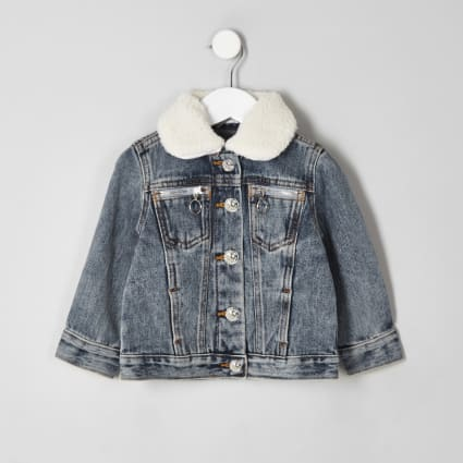 Mini kids denim borg collar jacket