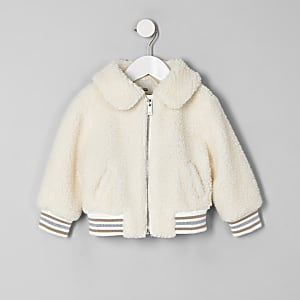 Mini girls cream borg bomber jacket