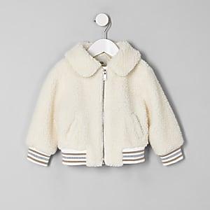 Mini girls cream fleece bomber jacket