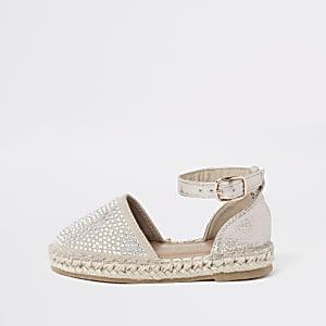 Sandales espadrilles dorées à pierreries mini fille