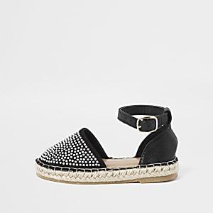 Sandales espadrilles noires cloutées mini fille