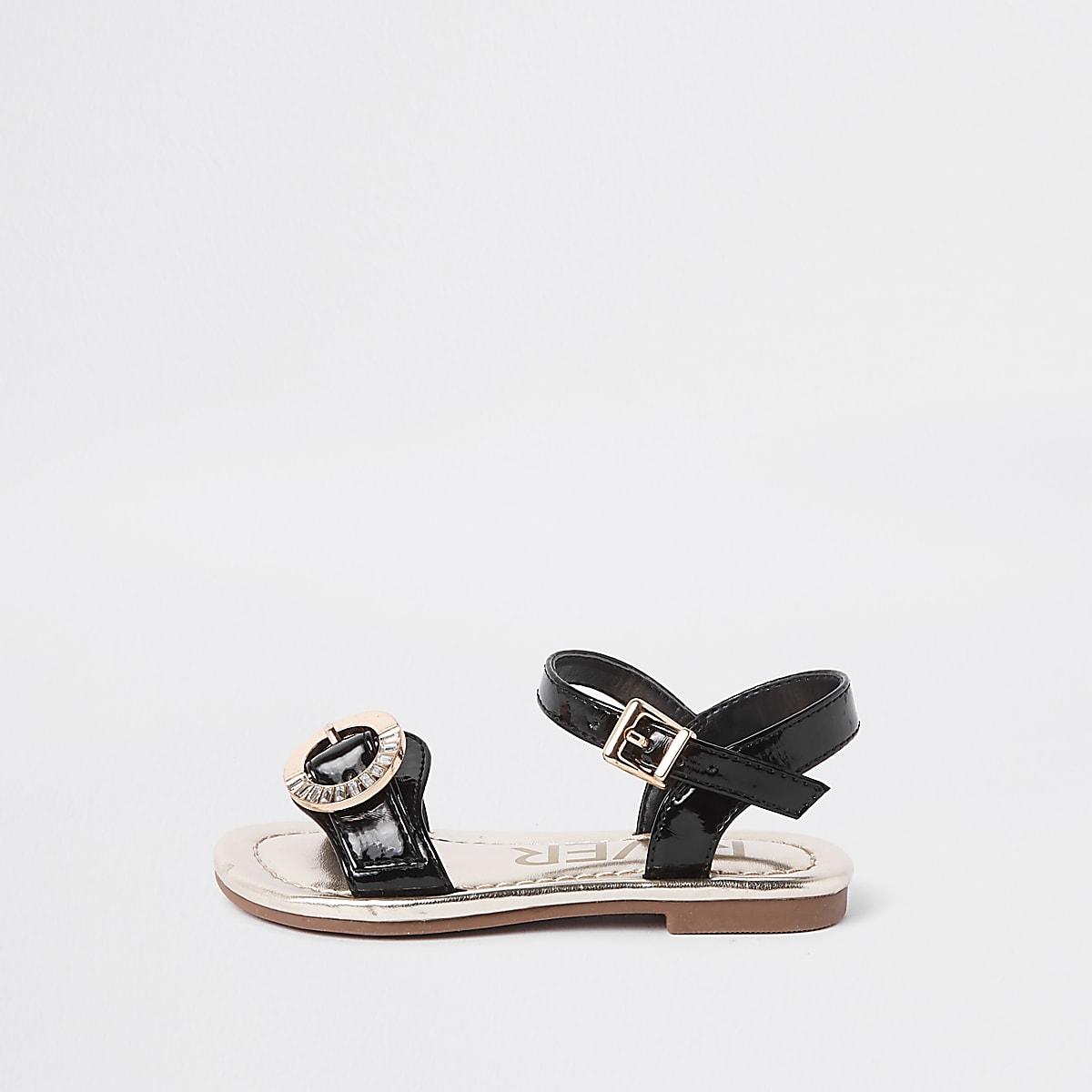 Mini girls black rhinestone buckle sandals