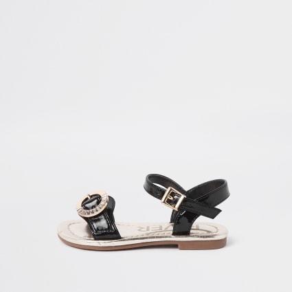 Mini girls black diamante buckle sandals