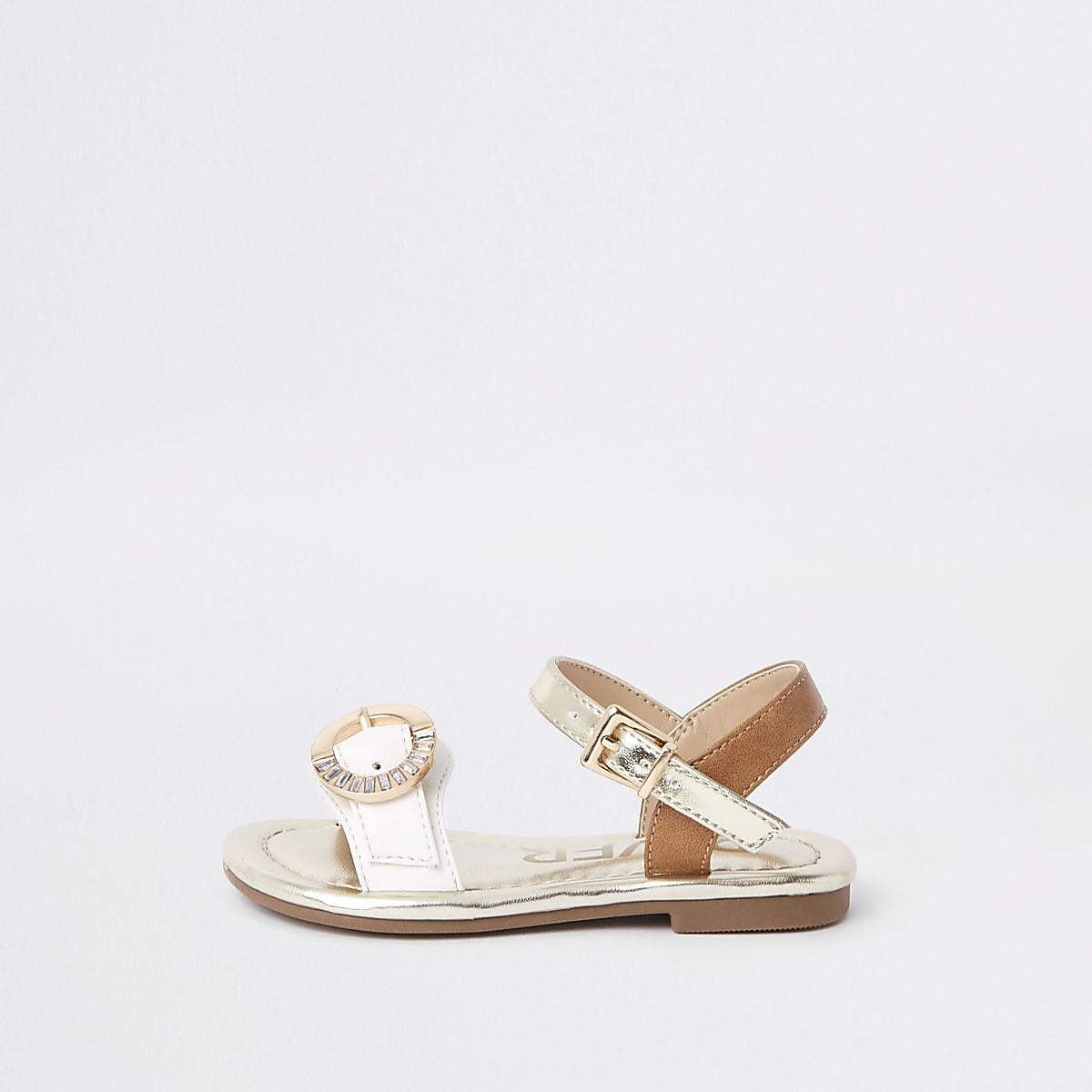 Mini girls white diamante buckle sandals