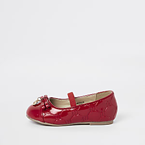Mini girls red RI monogram ballet flats