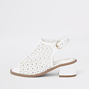 Weiße, gewebte Shoe Boots