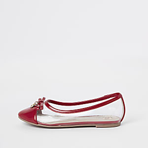 Girls red perspex ballet flats