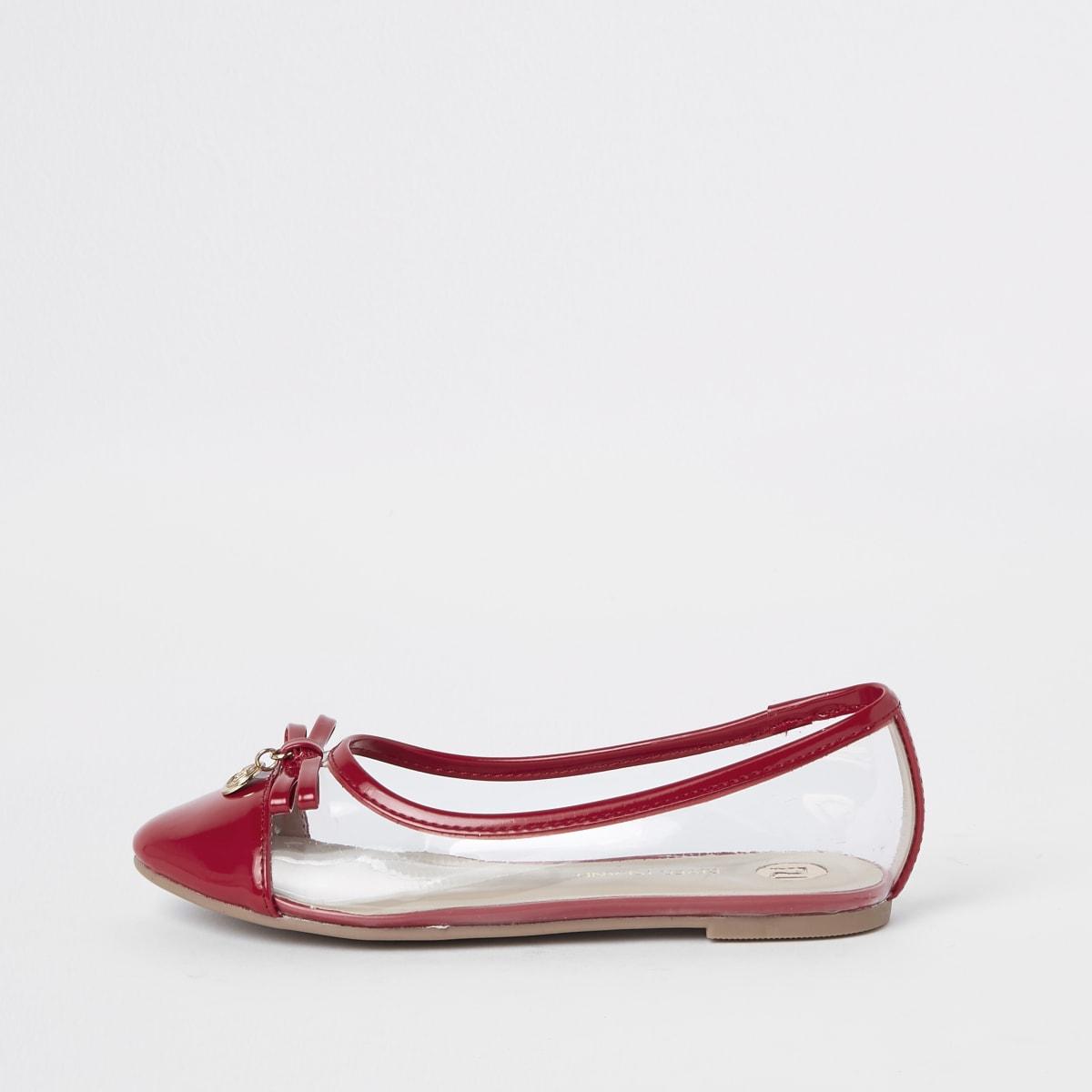 Girls red perspex ballet flats