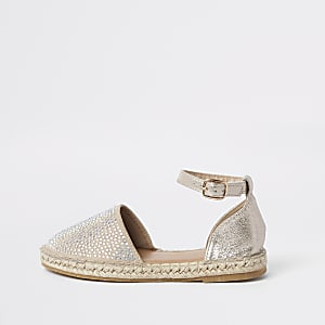 a6ed598b3 Girls gold embellished espadrille sandals