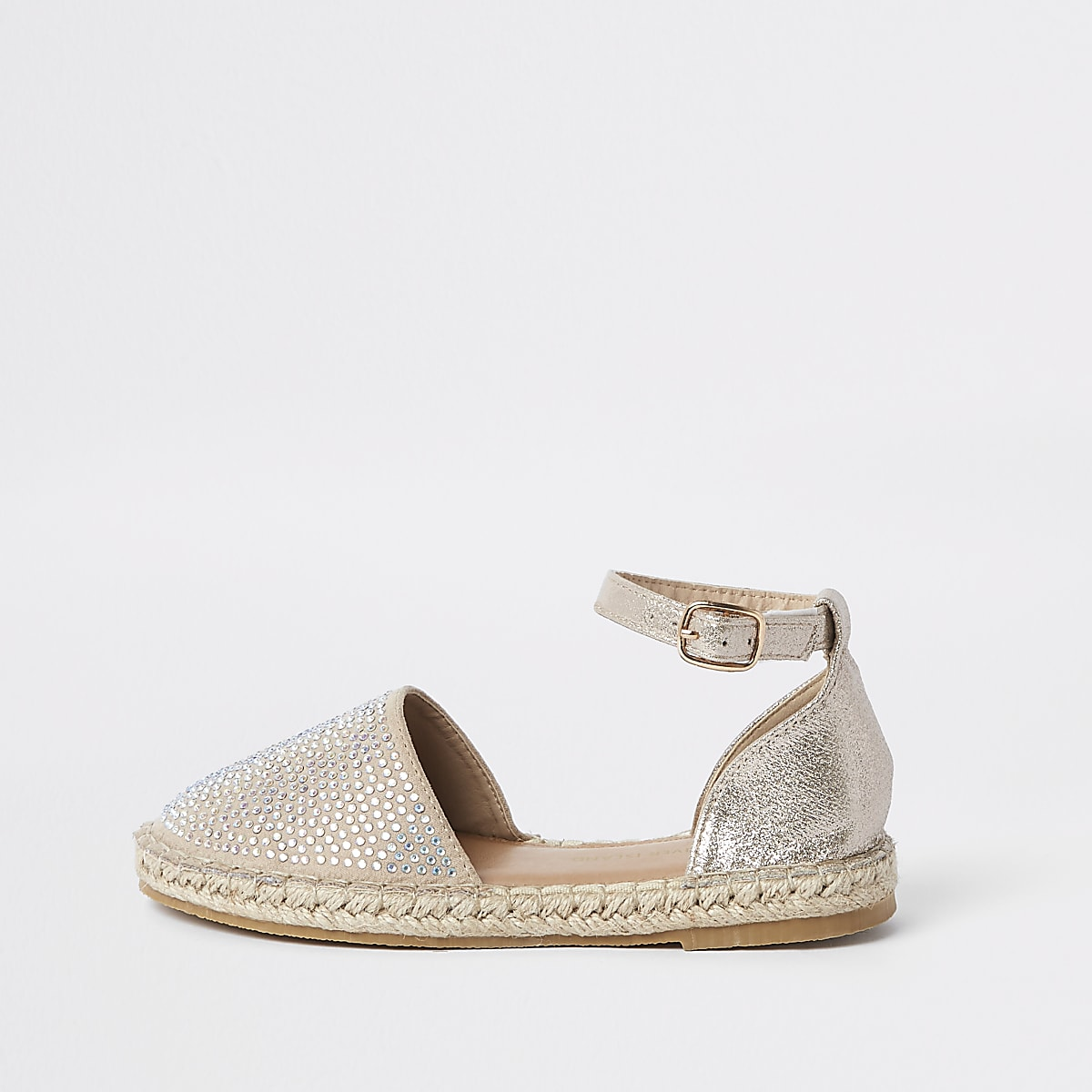 Girls gold embellished espadrille sandals
