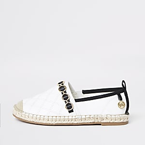 Girls white embossed contrast espadrilles