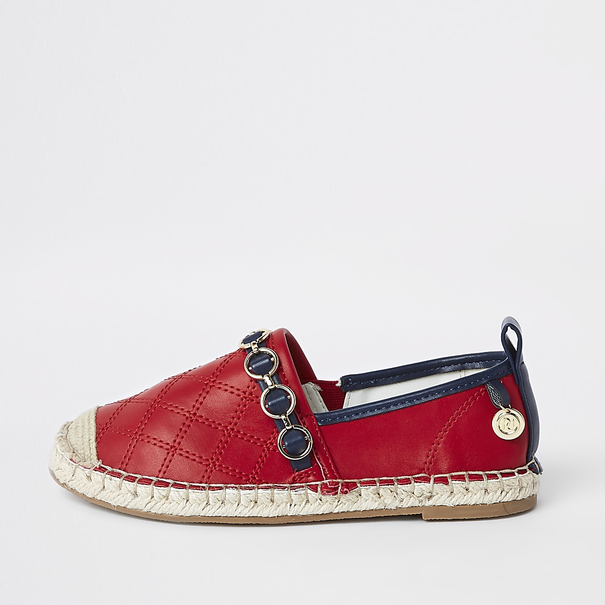 Girls red embossed contrast espadrilles