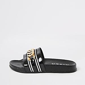 Zwarte slippers met ketting voor meisjes