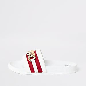Witte slippers met ketting voor meisjes