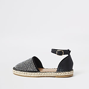 Girls black embellished espadrille sandals