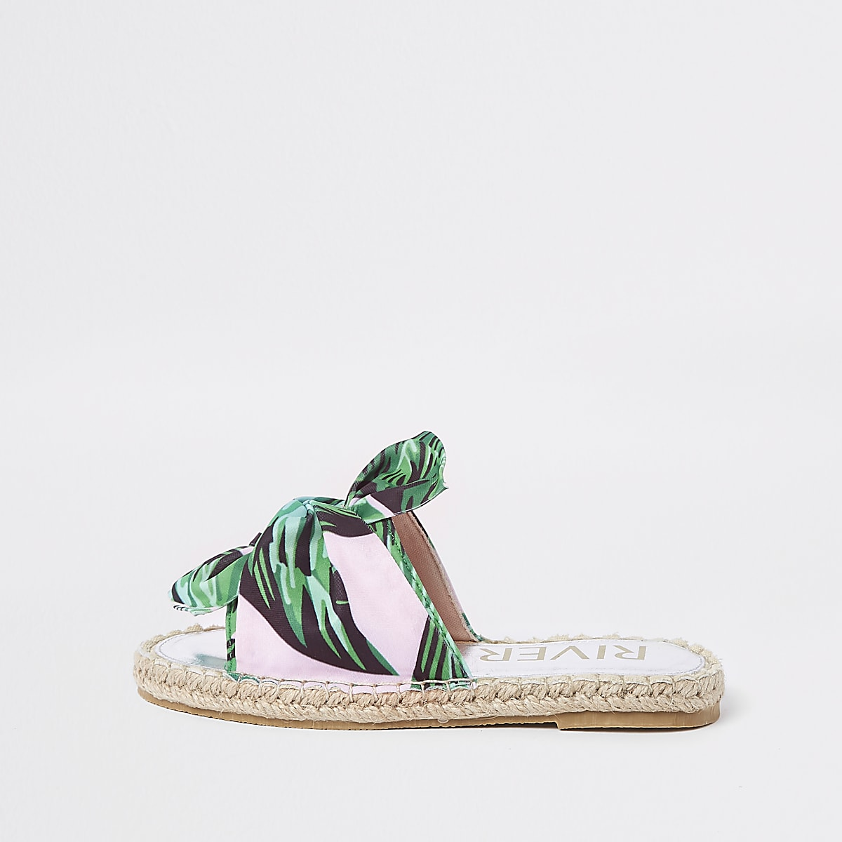 Girls green tropical bow espadrille sliders