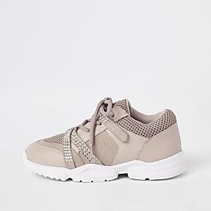 Girls pink diamante lace-up chunky trainers